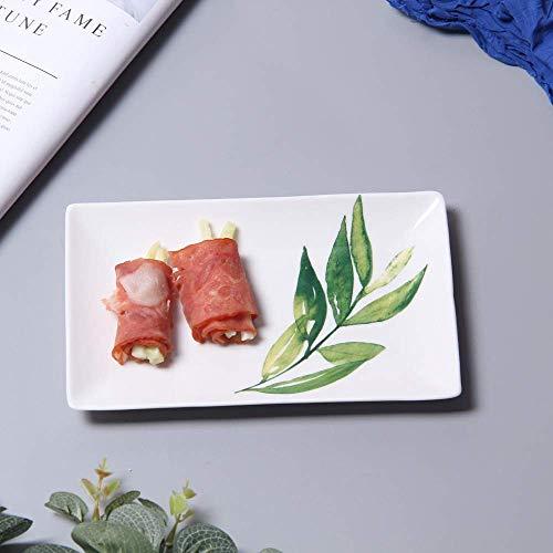 LILICEN Nordic Creativo Snack-cerámica Placa Rectangular Restaurante Utensilios de Frutas Placa de Postre Olive Branch 20X12Cm
