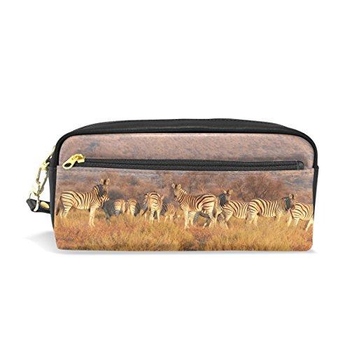 Eslifey Zebra Herd On The Grassland Tragbare Tasche PU Leder Schulstifteetui, Stifteetui, Stifteetui, Wasserdicht, Kosmetiktasche, Make-up-Koffer