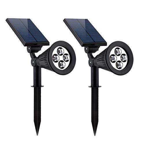 Verbeterde outdoor zonne-energie spots vloerlamp waterdicht 4 LED tuinverlichting met automatische activering/deactivering voor de binnenplaats (2 packs, wit licht)