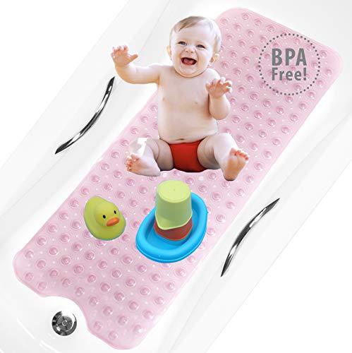 bisoo Alfombrilla Bañera Antideslizante Infantil Extra Larga - 40x100 cm - para Baño Bebe y Ducha Niños - Libre de BPA - Alfombra Baño con Tratamiento Antibacteriano para Familias (Rosa)
