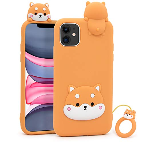 YONOCOSTA Cute iPhone 11 Case, Corgi Dog Funny 3D Cartoon Cool Animals Soft Silicone Shockproof Full Protection Case Cover Skin with Keychain for Girls Boys Kids Women Children