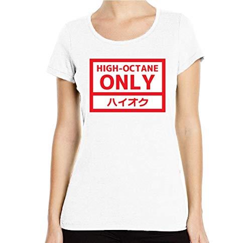 High Octane Fuel Only JDM Racing Driver Graphic T-shirt voor dames, ronde hals