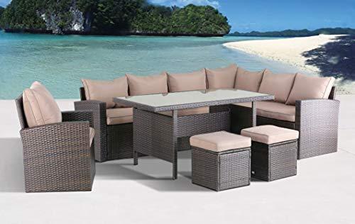 Hohe Dining Poly Rattan Lounge inkl. einem Sessel und Zwei Hocker Milos XL braun auch spiegelverkehrt nutzbar aus dem Hause Pure Home & Garden