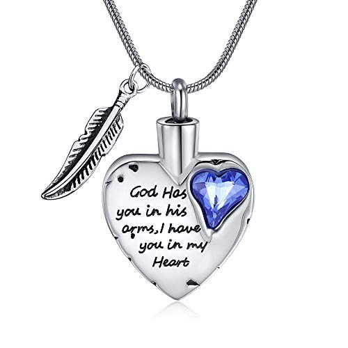 Heart Cremation Jewelry Urn Necklace for Ashes Memorial Jewelry for Men Women Urn Charm Family (Silver-Blue)