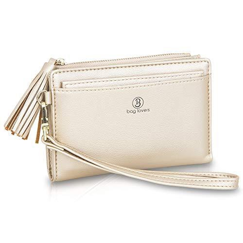 bag lovers - Lovely - Gold - Stylisches Damen Portemonnaie mit Spiegel - Geldbörse der Extraklasse - Portmonee mit vielen Fächern