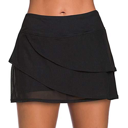 Timagebreze Traje de BaaO Sexy para Mujer Pantalones Cortos de Playa Traje de BaaO de Media Falda Conservadora Ropa de Playa Leggings de Cintura Alta Negro XXL