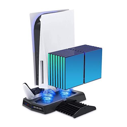 Soporte vertical para consola PS5 Digital Edition con 2 ventiladores de refrigeración integrados y pies antideslizantes, soporte vertical de carga dual para consola Sony Playstation 5 DE