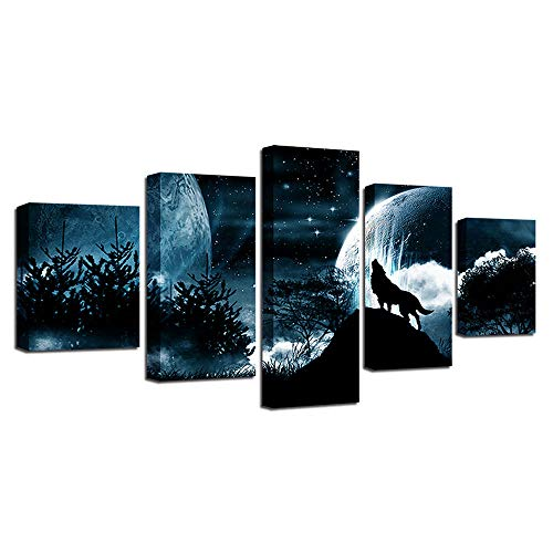 EUKMUIJ 5 Pieces Modern decorative painting abstract mural home wall art, Forest Starry Sky,Full Moon Night Wolf Roar
