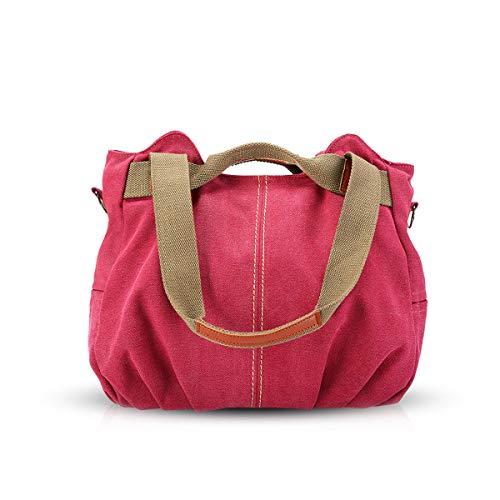NICOLE&DORIS Bolsos para Mujeres de Tela Bolsos de Hombro para Mujer Bolso Hobo de Lona para Mujer Rojo