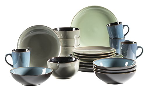 MÄSER 931238 Serie Scuro, Geschirr-Set bunt aus Keramik für 4 Personen, 20-teiliges Kombiservice, modern und mediterran, Grün/Grau/Blau, Steinzeug