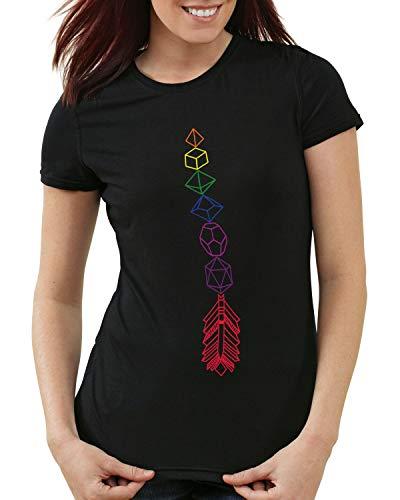 CottonCloud DND Arrow Damen T-Shirt Dungeon Tabletop Dragons d20, Farbe:Schwarz, Größe:XL