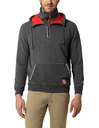 Lower East Herren Kapuzen-Sweatshirt, Kontrast-Reißverschluss und Kapuzenfutter, Anthrazit Melange, XL