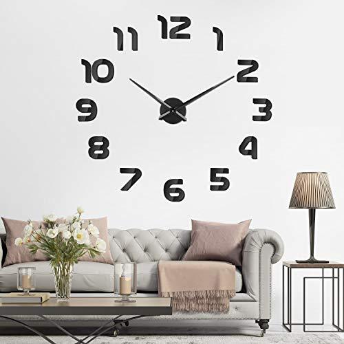 SOLEDI Mute DIY Reloj de Pared, 3D Reloj Pared Adhesivos, Sin Marco Tamaño...