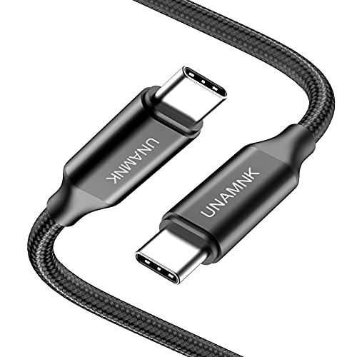 Cable USB C a USB C(1-Pack: 2m), Cable Tipo C Carga Rápida de Energía Nylon Duradero Trenzado para Macbook, MacBook Air, iPad Pro 2020, Xiaomi Mi10, Samsung S21 S20, Huawei P40 (Negro)