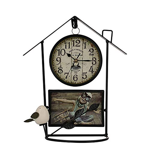 Xiaoxia Grocery Wall Clock Vintage Wrought Iron Birdcage Wall Hanging Clock with Scrolling Circle Rugged Housing Design for Living Room Bedroom Kitchen Farmhouse Hotel Cafe (Color : Black)