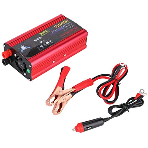 Inversor de corriente de onda sinusoidal pura Fydun 1500W Inversor de corriente para coche Adaptador convertidor de cargador USB Onda sinusoidal modificada DC 12V / 24V a AC 220V