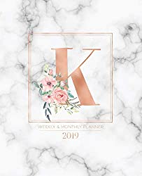 "Weekly & Monthly Planner 2019: Rose Gold Monogram Letter K Marble with Pink Flowers (7.5 x 9.25"") Vertical at a glance Personalized Planner for Women Moms Girls and School"