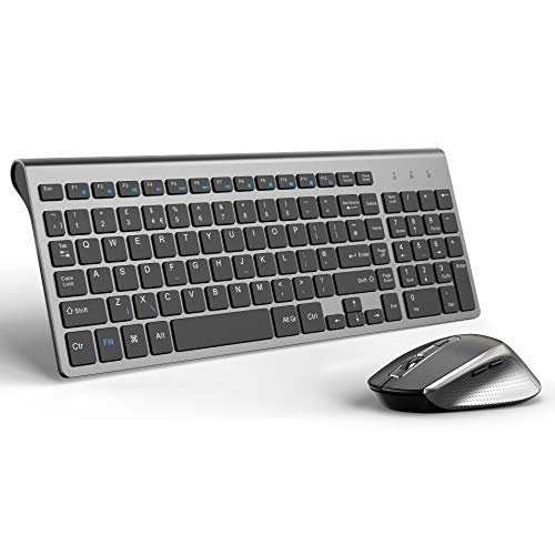 Wireless Keyboard and Mouse Set,Compact Wireless Keyboard with Numeric Keypad and Ergonomic Quiet Mouse Full-size 2400 DPI for Windows by JOYACCESS,QWERTY UK layout-Black+Gray