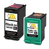 CMCMCM Cartucho de Tinta Remanufacturado para HP 350XL 351XL Compatible con Photosmart C4480 C4380 C5280 C4280 C4580 C4585 C4500 C4485 C4400 (1 Negro, 1 Color)