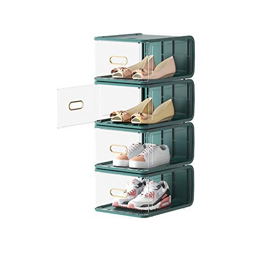 Zapatero Cajas de almacenamiento de zapatos transparentes (5 paquetes) Organizadores de almacenamiento de zapatos apilables Guardar espacio Plastic Shoe Rack Standing Storage Organizador Zapatera