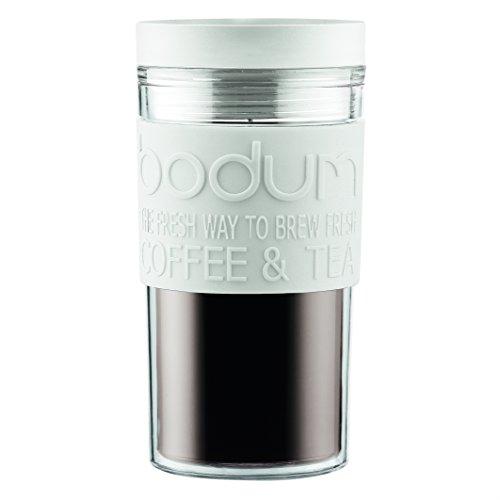 BODUM - 11684-913S - Mug de voyage isotherme en plastique -couvercle à vis - hermétique - 0.35 l - Blanc