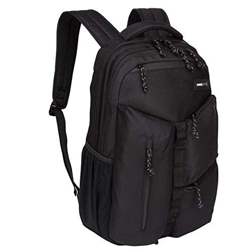 SwissTech Appenzell Backpack with Laptop and Tablet Sleeve School Backpack, Black