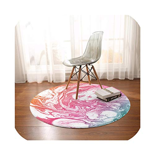 NanPing Marble Round Carpets for Living Room Rainbow Luxury Area Rug Rock Stone Trendy Floor Mat Colorful Rugs,Pink,Diameter 120cm