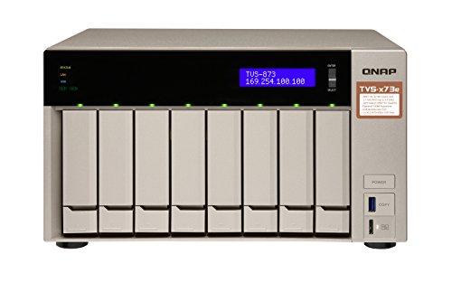 QNAP TVS-873e-8G, AMD RX-421 BD Quad-Core APU NAS-System, PCIe, HDMI 4K@ 30Hz-Ausgang, 4K H.264-Videodekodierung, grau