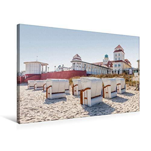 CALVENDO Premium Textil-Leinwand 75 x 50 cm Quer-Format Strandkörbe vor dem Kurhaus in Binz auf Rügen, Leinwanddruck von Christian Müringer