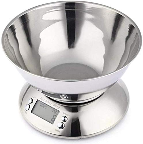Báscula de cocina de acero inoxidable para cocina y hogar, báscula multifuncional de bolsillo de 5 kg/1 g báscula electrónica de cocina de precisión digital con cuenco