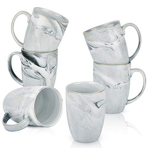 Marble Coffee Mug Set Mug Sets for Coffee Marble Ceramic Cup Set 16 Oz Coffee Mug Set of 6 for...