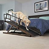 DoggoRamps Large Bed Ramp for Big & Medium Dogs - Adjustable Height, Sturdy, Safety Railings, Anti-Slip Grip - 5 Color Options to Match Your Home (Clear Natural)