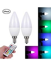 مصباح شمعة أبيض دافئ 220 فولت 3 واط L-ED RGB+ مع جهاز تحكم عن بعد وحامل مقبس قاعدة E12 قطعتين مزود بوظيفة الذاكرة / سطوع عاكس قابل للتعديل e12 rgb QYMAINSAYAEL3940SA
