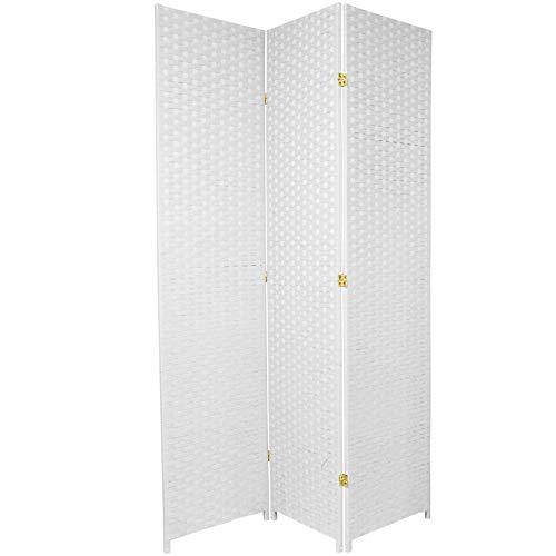 Oriental Furniture 7 ft. Tall Woven Fiber Room Divider - White - 3 Panel