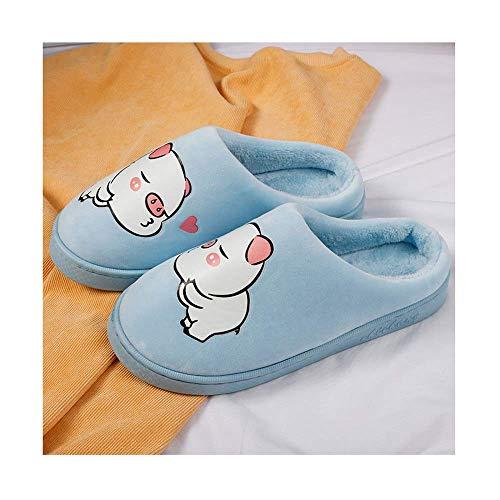 SLM-max Zapatillas Unisex,Fluorescencia Noche Cálido Invierno Zapatilla Zapatos Casuales Lindo Cerdo Antideslizante Confort Señoras Mujer Felpa Moda Mujer Pareja Azul-37-38