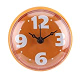 Longzhuo Reloj Impermeable Baño Ventosa Ducha Mini baño Reloj de Pared para baño Cocina(Naranja)