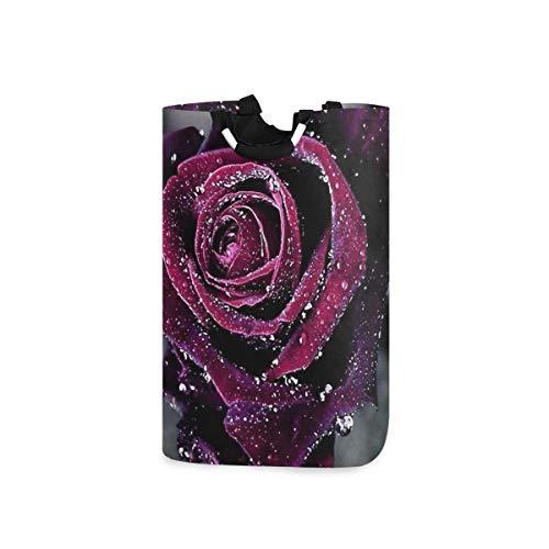 LENNEL para baño, Dormitorio, Ropa Papelera de Almacenamiento Grande única Flores Rosas púrpuras Cesto de la Ropa Cesto con Asas