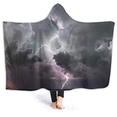 XCNGG Manta con Capucha Hooded Blanket Lightning Sky Comfortable Throw Blankets for Four Seasons Anti Pilling Flannel Wearable Blanket Suitable for Sofa Blankets for Adults and Children, Bed Blankets