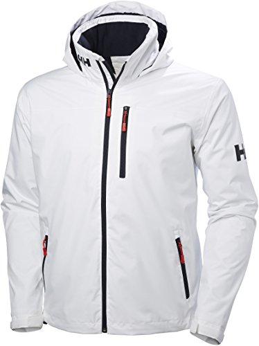 Helly Hansen Men's Crew Hooded Midlayer Fleece Lined Waterproof Windproof Breathable Rain Coat Jacket, 001 White, Large