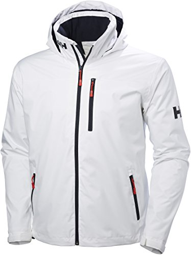 Helly Hansen Crew Hooded Midlayer - Chaqueta Impermeable, Cortavientos y Transpirable, con Forro Polar y Capucha Integrados, Hombre, Blanco (001 White), S