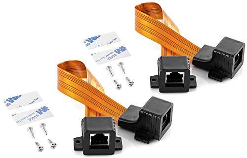 Poppstar 2X 24,5cm LAN Fensterdurchführung (beidseitig RJ45 Buchse, sehr flach 0,2mm, Flexibler Bereich 17,5cm), vergoldete Kontakte, orange