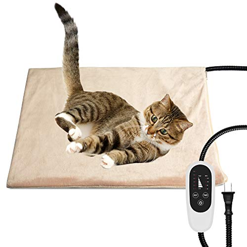 NICREW Pet Heating Pad with Auto Shut Off, Electric Pet Heated Bed Mat for Cats and Dogs, Temperature Adjustable, MET Safety Listed, 17.7 x 15.7 Inches, 55W (max) …