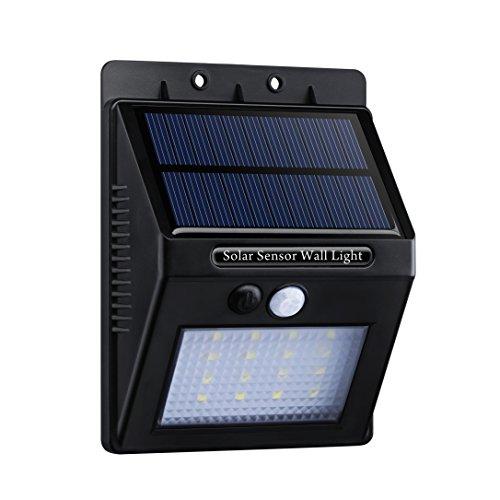 Topop Lampada 16 LED a energia solare con sensore di movimento, faretto a energia solare, impermeabile, da parete, schermo con diamanti per illuminazione esterna e sicurezza del sentiero di accesso e delle scale