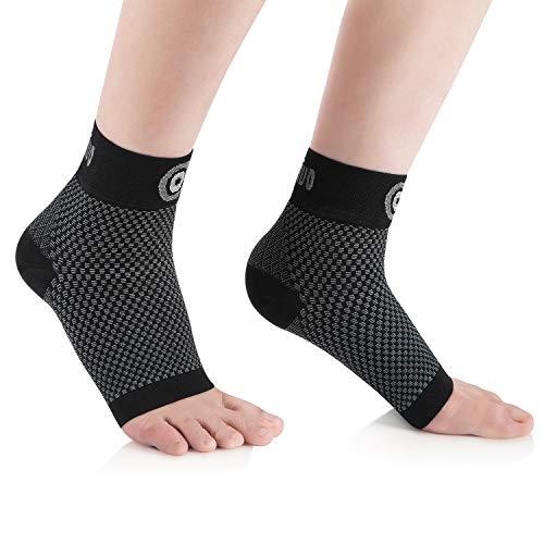 CAMBIVO 2 Paar Sprunggelenkbandage, Knöchelbandage, Fußbandage für Herren und Damen, Plantar Fasciitis Socken, Kompressionssocken für Sport, Fussball, Fitness (Schwarz, L)