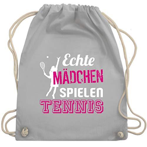 Shirtracer Tennis - Echte Mädchen spielen Tennis - Unisize - Hellgrau - turnbeutel mädchen tennis - WM110 - Turnbeutel und Stoffbeutel aus Baumwolle