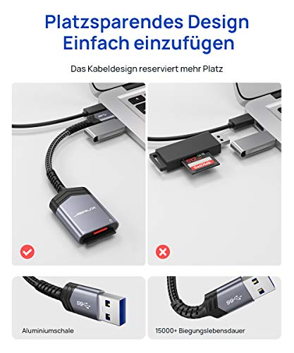 JSAUX USB 3.0 SD TF Kartenleser USB Card Reader Adapter TF SD Kartenleser 2 Slot Kartenlesegerät für SDXC, SDHC, SD, MMC, RS-MMC, Micro SDXC, Micro SD, Micro SDHC Karte-Grau