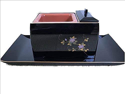 焼香盆セット5.0寸 蒔絵 鉄仙(灰、炭、お香付)