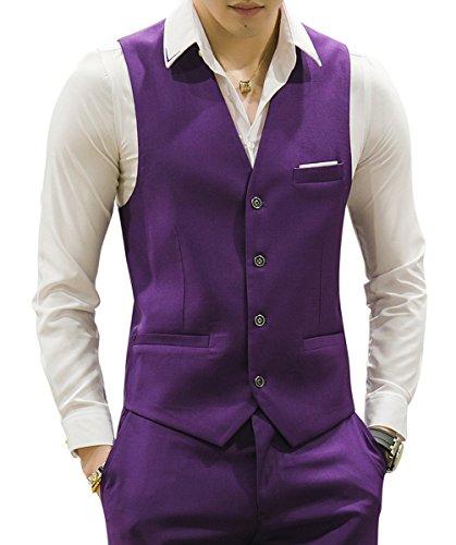 MOGU Gilet da Uomo Causale Suit Gilet 15 Colori IT 46(Label XL) Nero