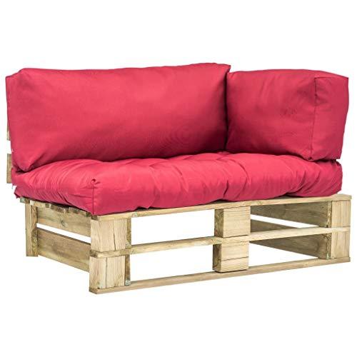 Festnight Paletten Gartensofa mit Roten Kissen | Palettenkissen Set | Indoor Palettensofa | Palettenpolster Kissen Sofa | Outdoor Palettenmöbel | Sitzpolster Sofa | 110 x 66 x 65 cm