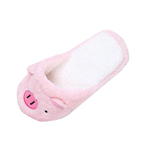 YWLINK Zapatillas De Casa Zapatillas De AlgodóN De OtoñO E Invierno De Gran TamañO Zapatos De Cerdo De Dibujos Animados Lindo Zapatillas De Piso Antideslizante Confort De Fondo Suave Regalo Familiar